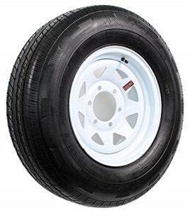 Wheels Express White Spoke Trailer Wheel with Radial Tire